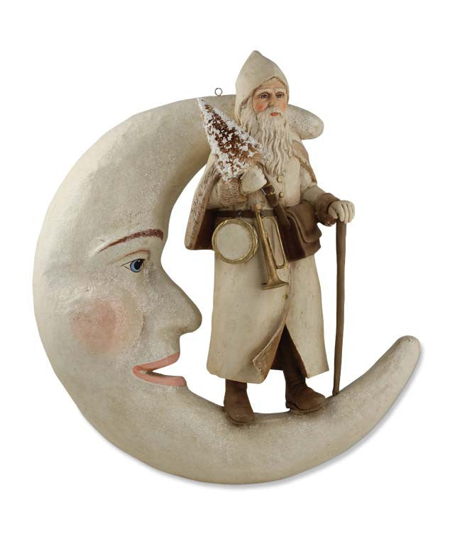 Santa On Moon Hanging Ivory