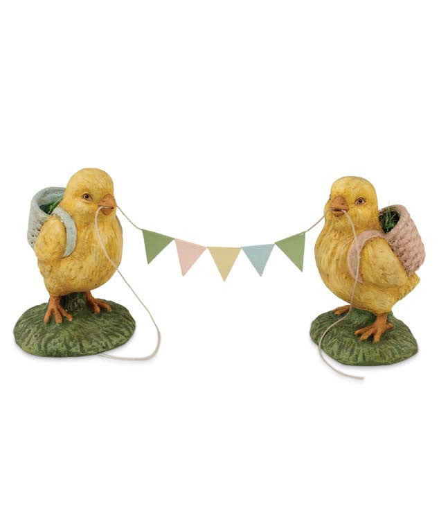 Chicks Holding Pennant Garland