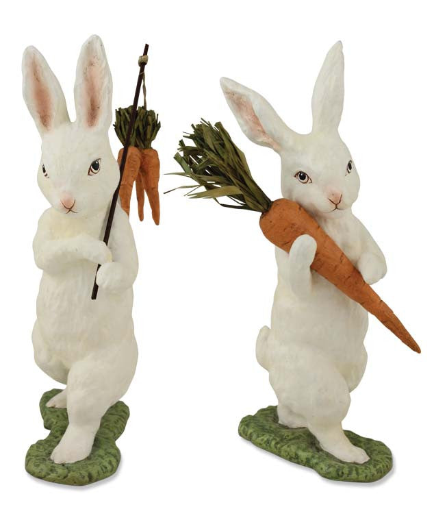 Flocked Bunnies With Carrots