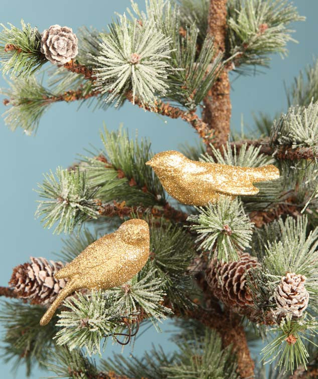 Gold Glitter Bird Wire Ornaments