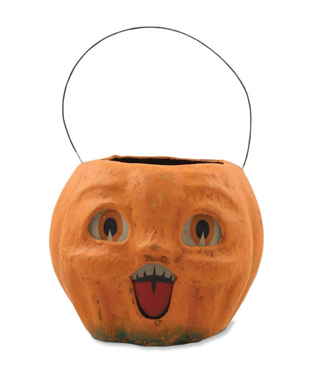 Happy Vintage Pumpkin Bucket by Bethany Lowe
