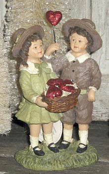 Boy & Girl with Basket of Hearts