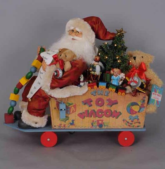 Vintage Toy Wagon Santa Claus by Karen Didion