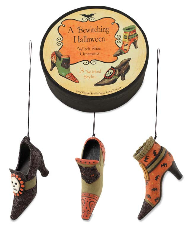 Witch Shoe Ornaments In Box