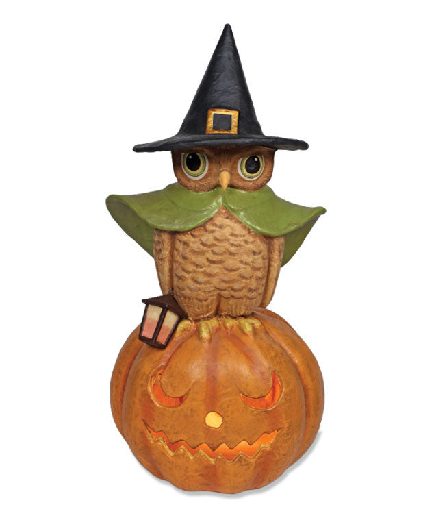 Witchy Owl On Pumpkin Large Paper Mache