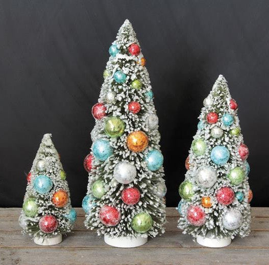 Festive Christmas Bottle Brush Trees