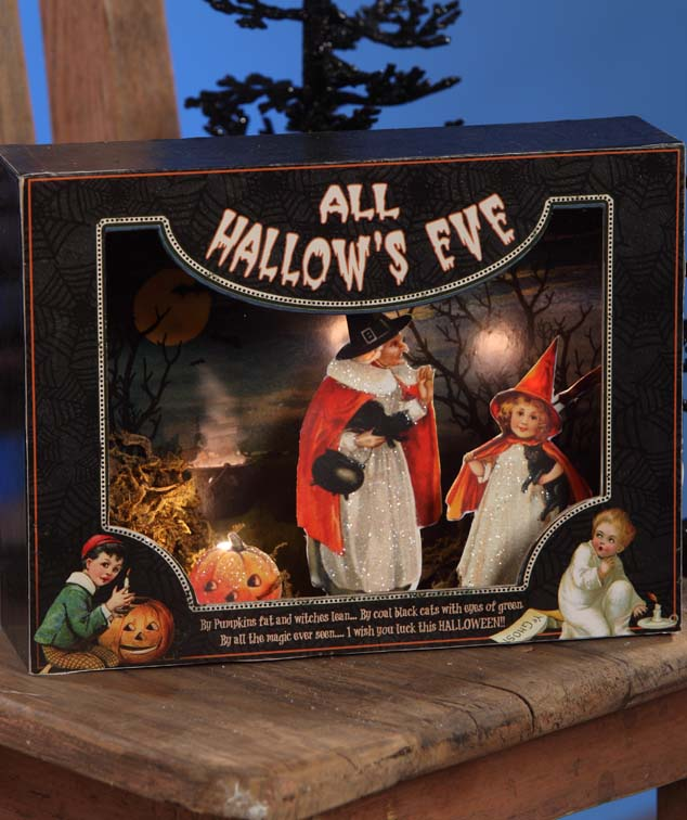 All Hallow's Eve Shadowbox with LED Lights - Vintage Witch