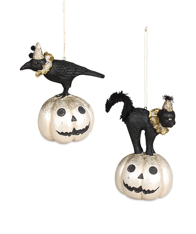 All Hallows Eve Crow & Cat on Pumpkin Ornaments