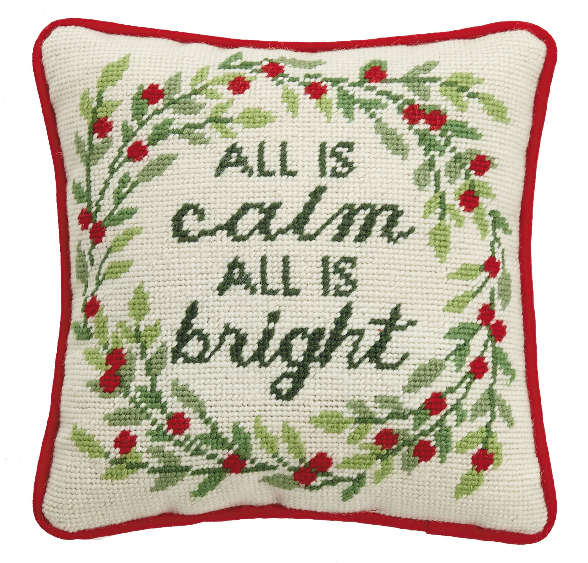All is Calm All is Bright Needlepoint Pillow