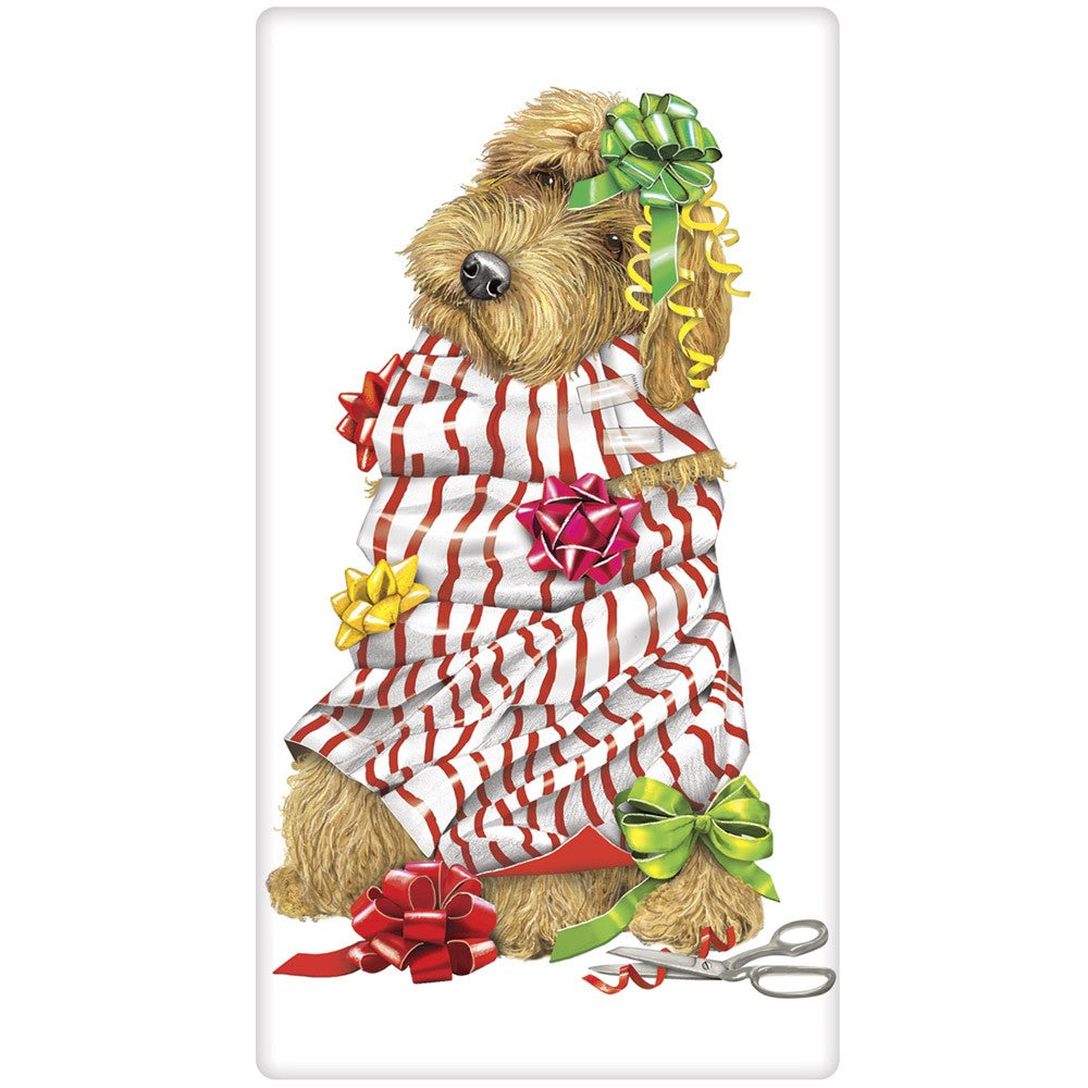 All Wrapped Up Golden Doodle Flour Sack Towel