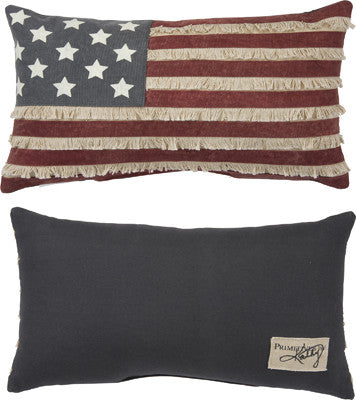Primitive American Flag Pillow with Fringe