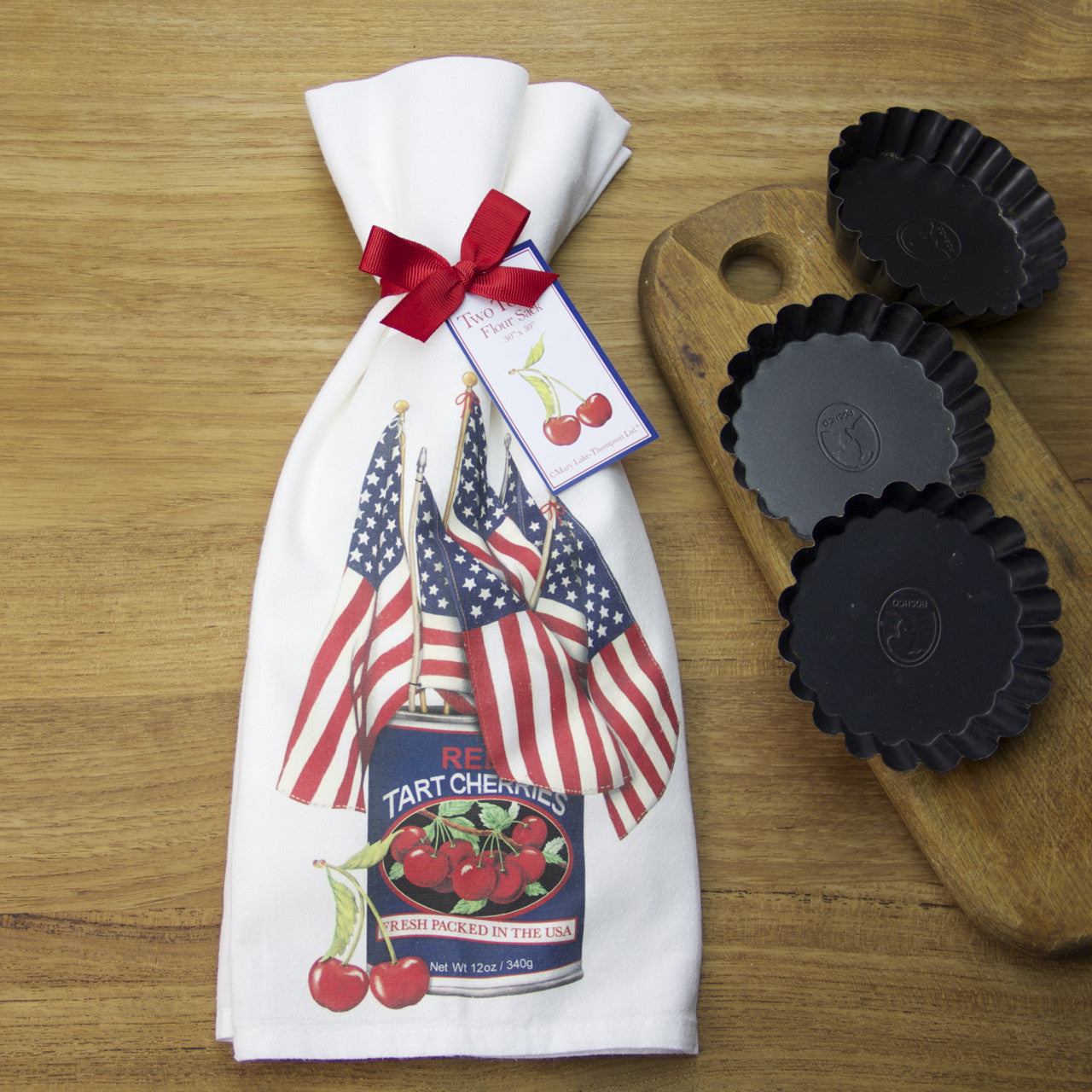 American Flags in Tart Cherry Can Flour Sack Towels by Mary Lake-Thompson