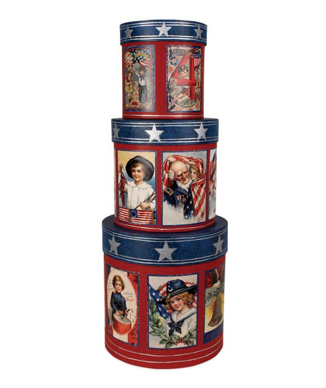 Americana Nesting Boxes with Vintage Images by Bethany Lowe