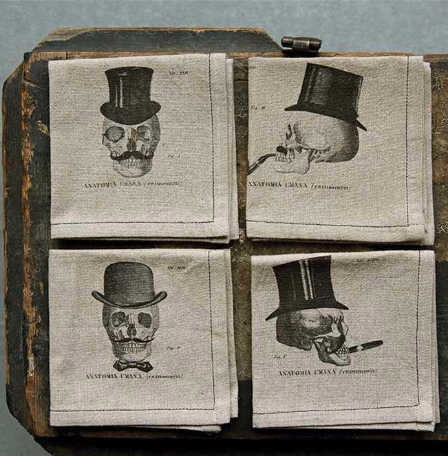 Skulls in Top Hats Cocktail Napkins - Halloween Bar
