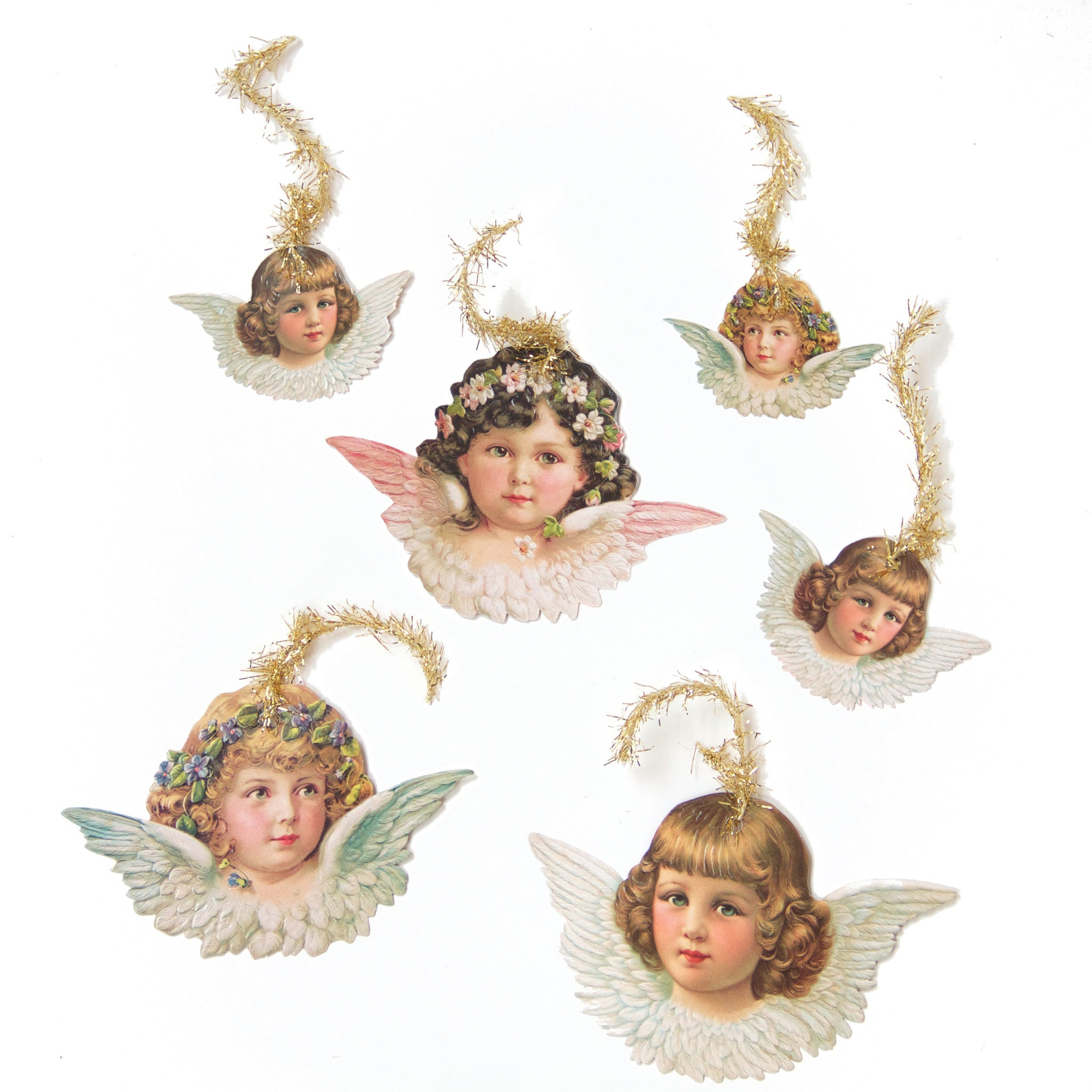 Victorian Angel Scrap Ornaments with tinsel from Germany