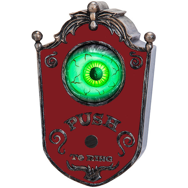 Animated Eyeball Doorbell Halloween Prop with Speaking Glowing Eye