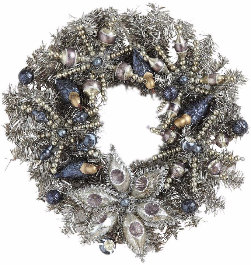 Antique silver tinsel wreath with blue birds holiday