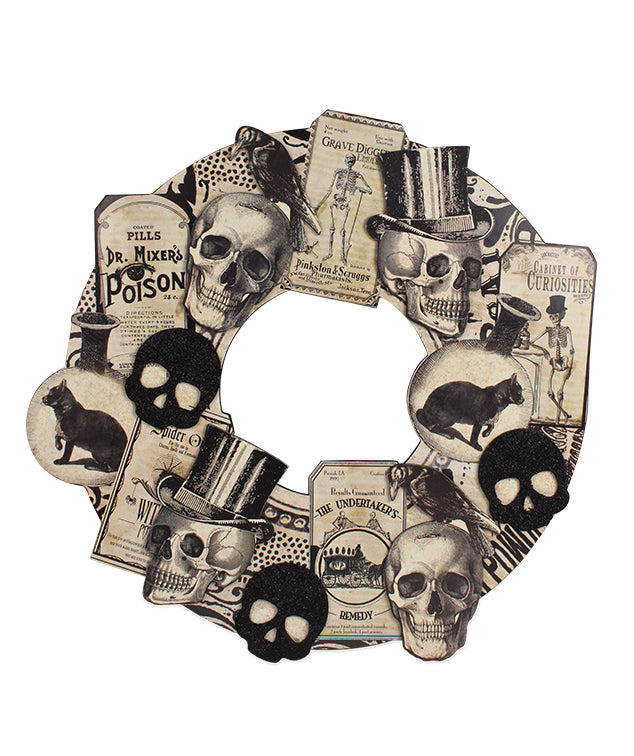 Black & White Vintage Apothecary Diecut Wreath