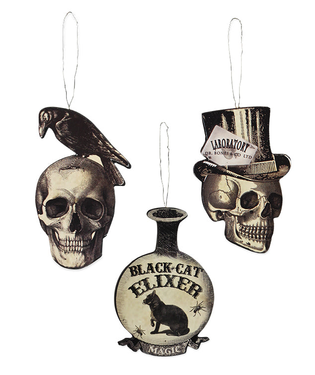 Apothecary Dummy Board Ornaments - Black & White Vintaqge Halloween