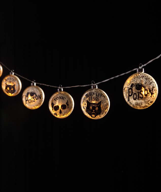 Apothecary Glass Light Up Garland with Skull, Cat & Eye