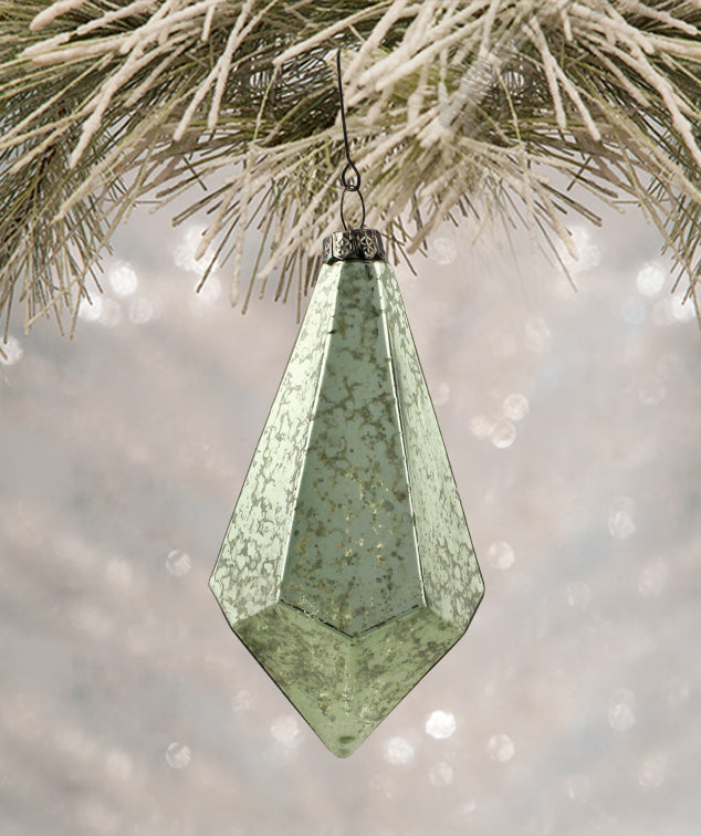 Aqua Geometric Teardrop Ornament by Bethany Lowe