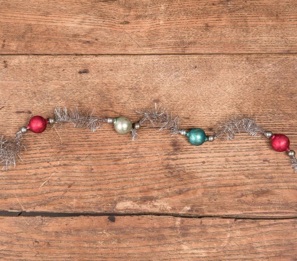 Aqua, Teal & Red Glass Ball Tinsel Garland