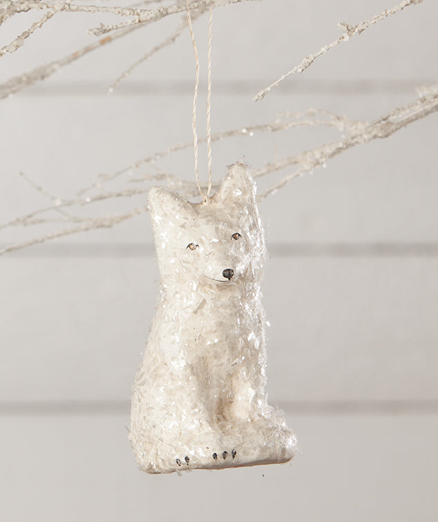 Arctic Fox Ornament, Paper Mache