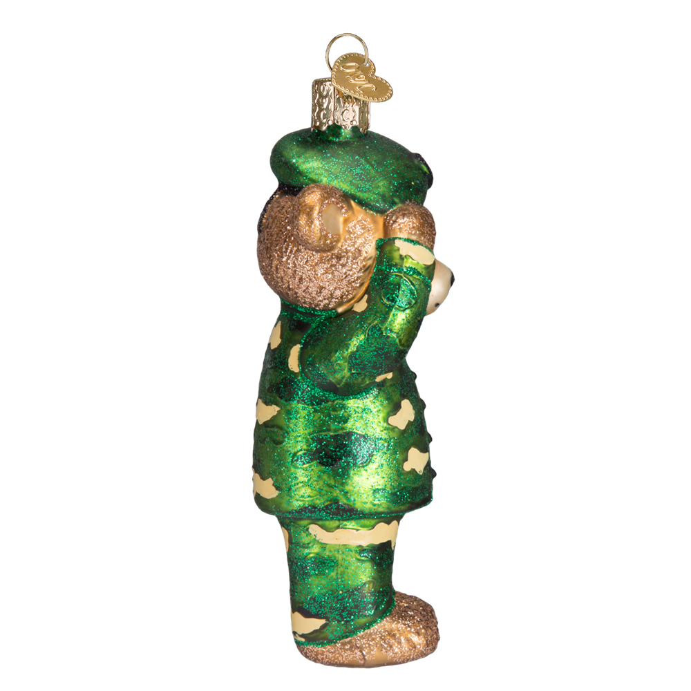 Army Bear Ornament Saluting - Sideview