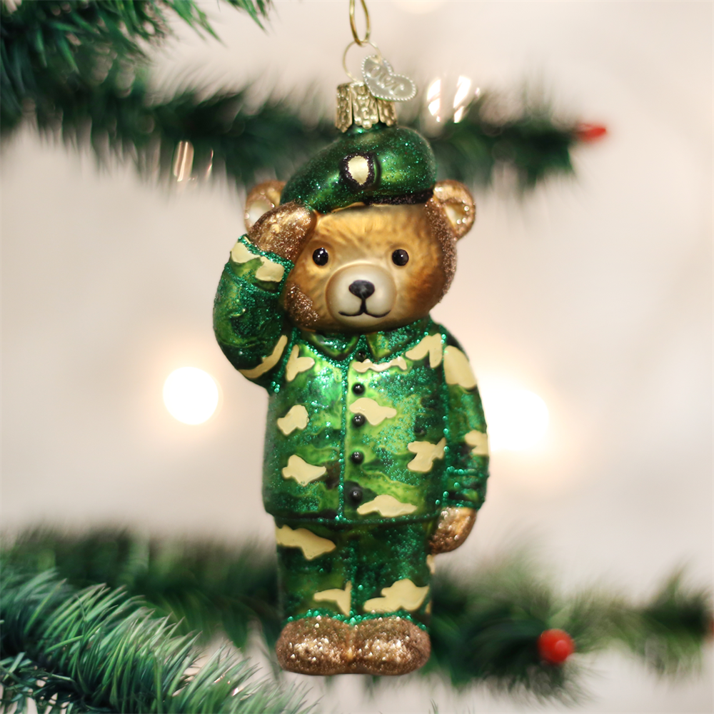 Old World Christmas Army Bear Ornament
