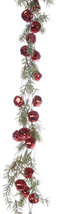 Artificial Pine Garland with Red Jingle Bells