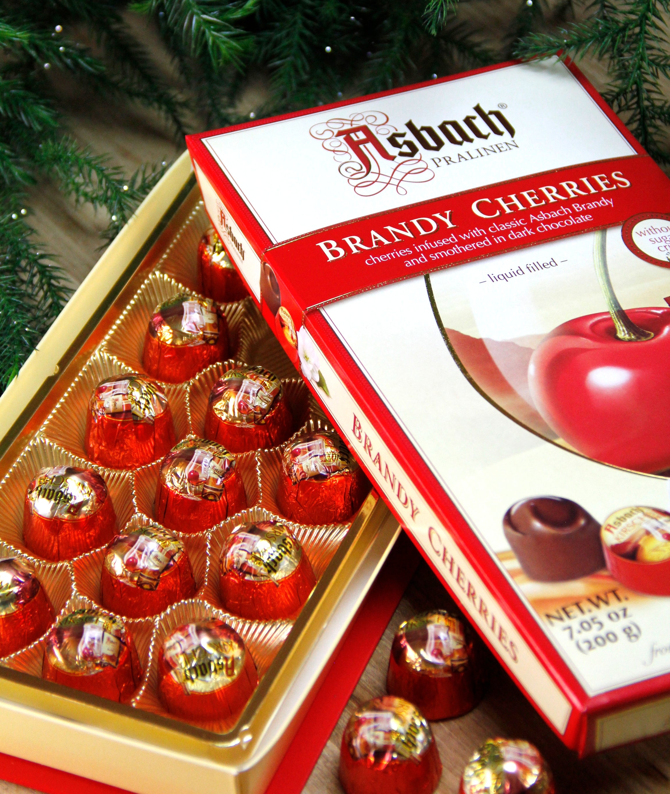 Asbach Brandy Cherries, Dark Chocolate Covered Cherries