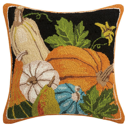 Autumn Harvest Hooked Pillow - Orange, blue & black with pumpkin, gourds & squash