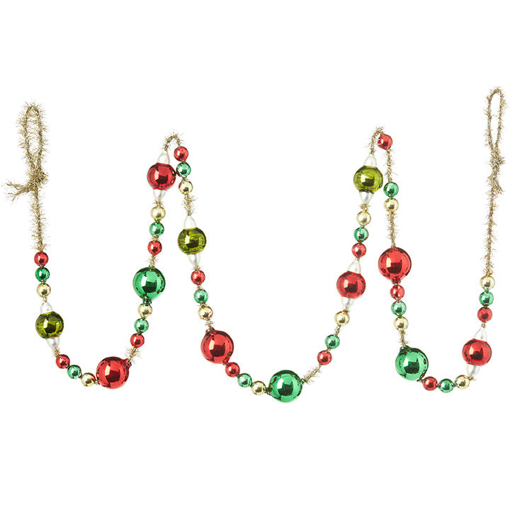 Christmas Ball Garland on Gold Tinsel with Red, Green and Gold Beads