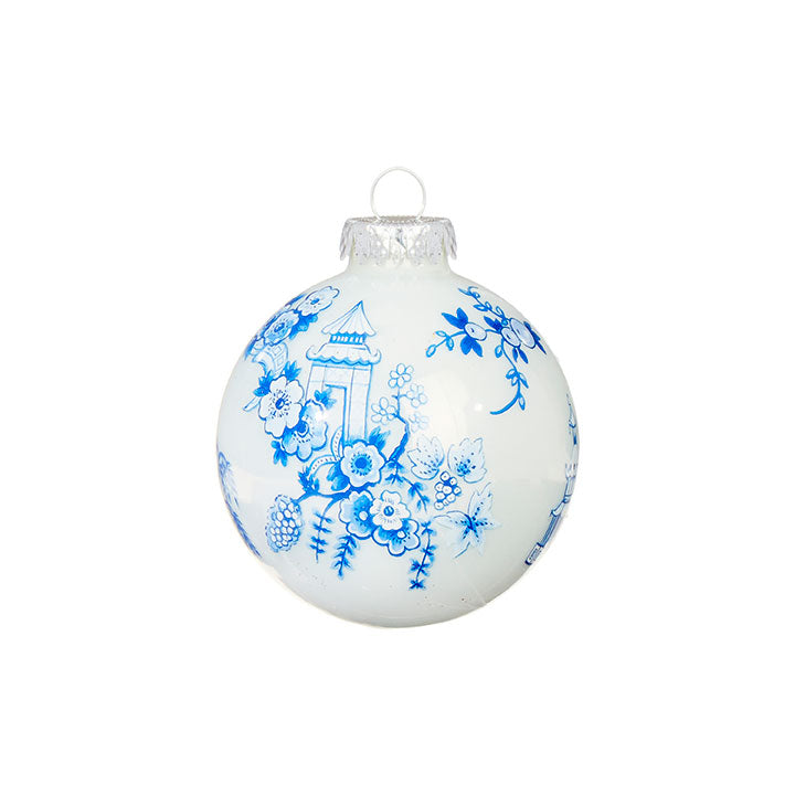 Chinese Blossom Ball Ornament, Blue & White