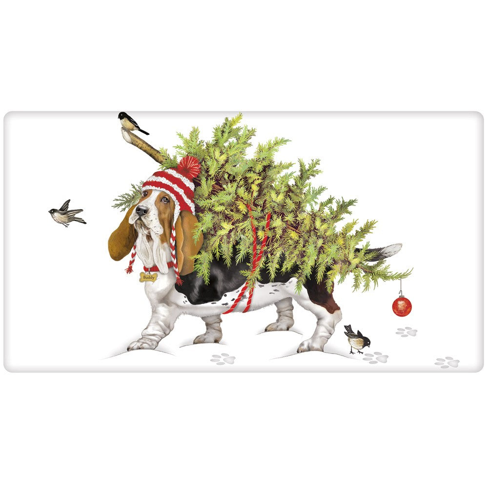 Bassett Hound with Christmas Tree Flour Sack Towel
