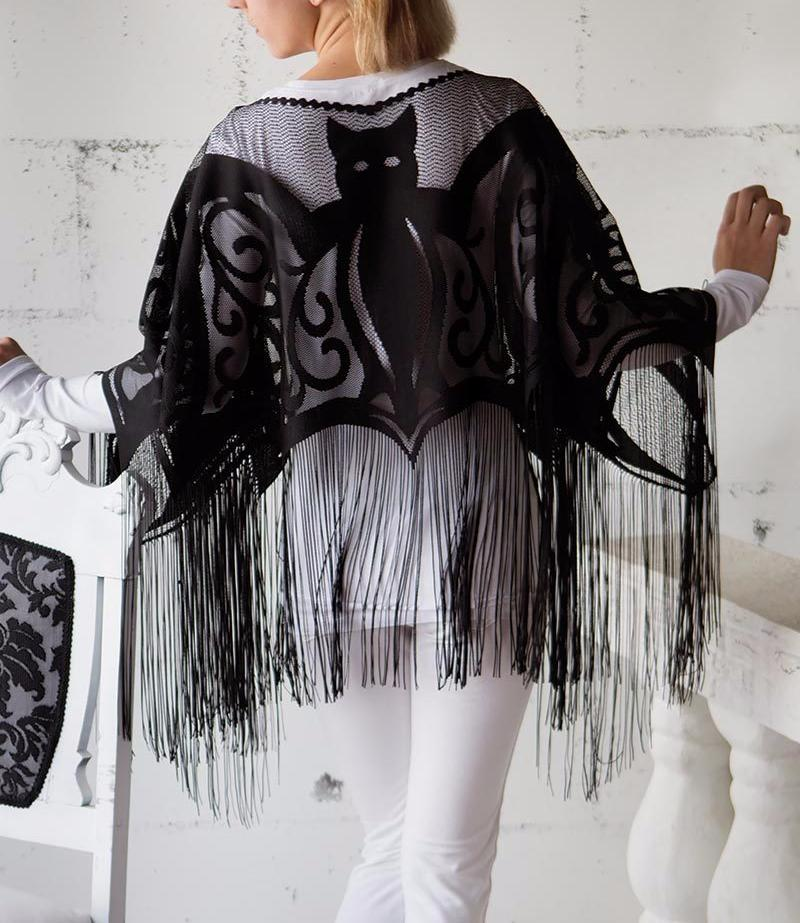 Bats Lace Poncho - Backside