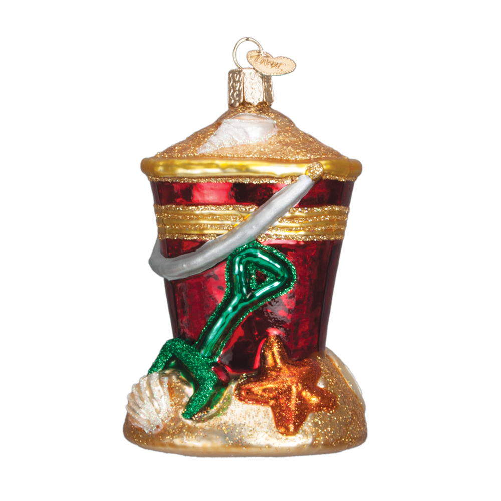 Red Beach Pail Ornament with Shovel & Shells