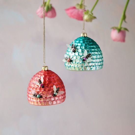 Bee Hive Ornament, Coral Pink or Blue