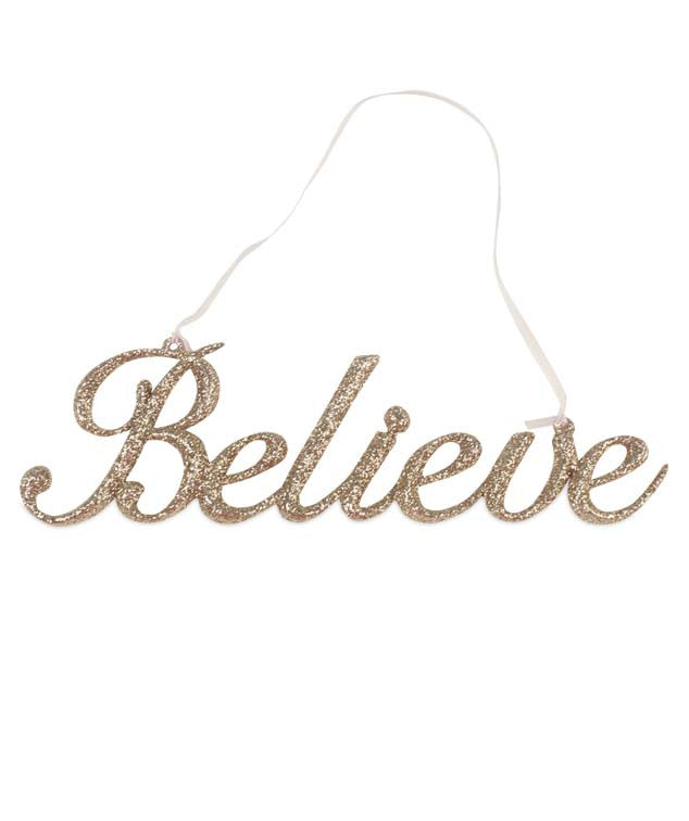 Believe Word Ornament in Gold Glitter
