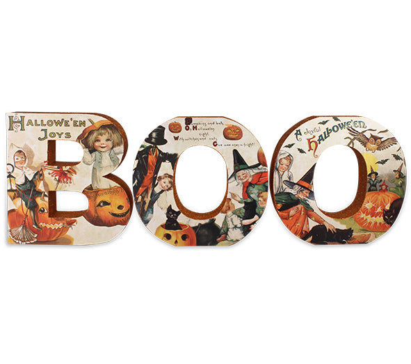 Boo Letter Sign with Vintage Halloween Images