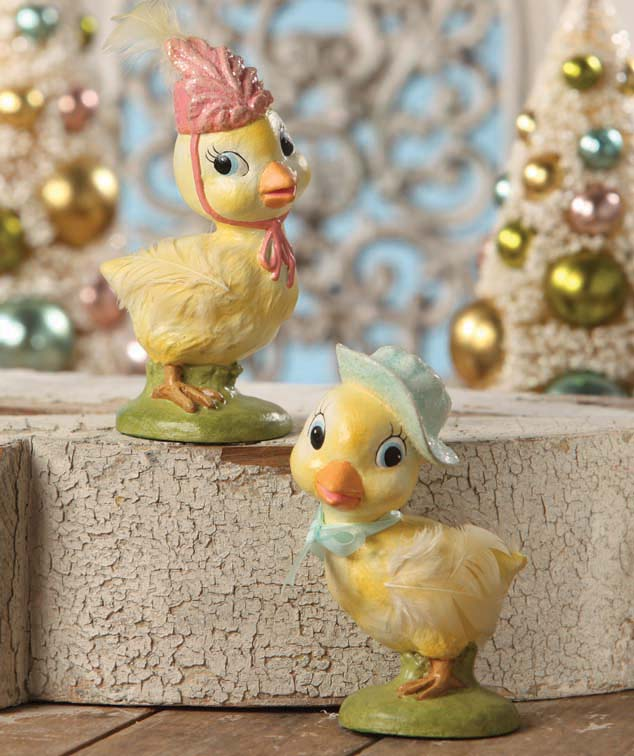 Bethany Lowe Chickie Duo - Easter Chicks with Hats
