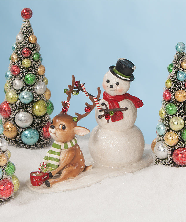 Bethany Lowe Deck the Halls, Snowman & Reindeer Duo
