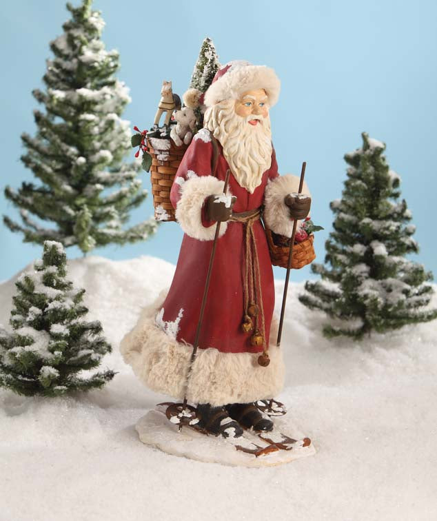 Bethany Lowe Father Christmas on Skis Figurine
