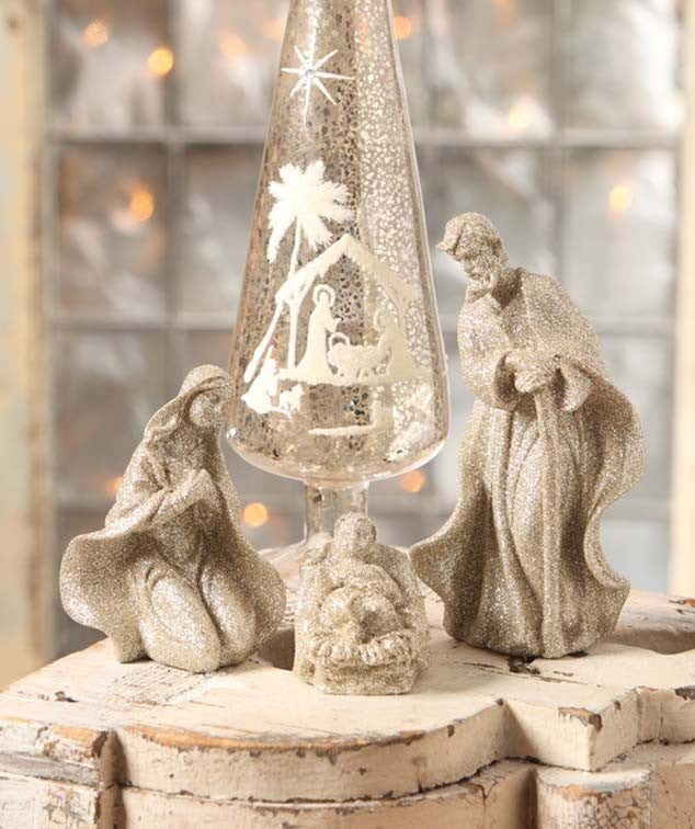 Bethany Lowe Glittered Nativity Figurines