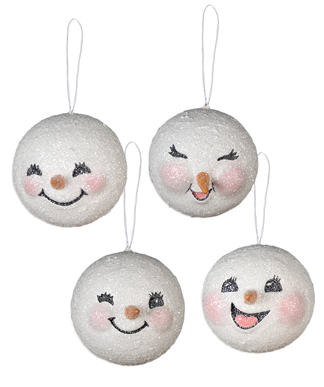 Happy Snowman Head Ornaments