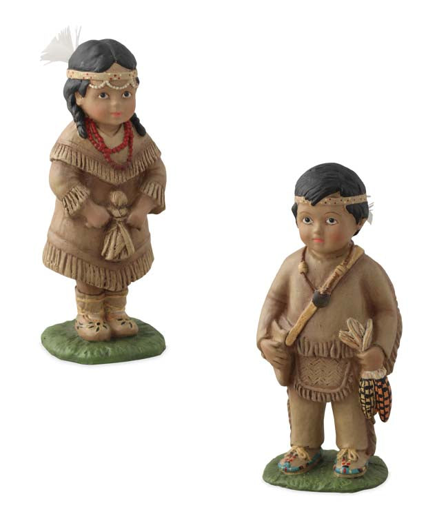 Bethany Lowe Thanksgiving Indian Children Figurines