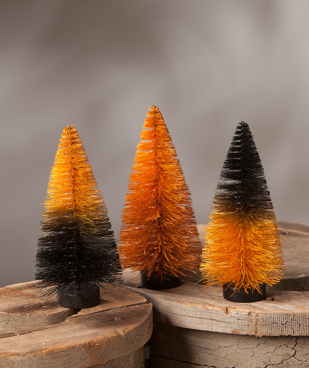Orange and Black Ombre Bottle Brush Halloween Trees