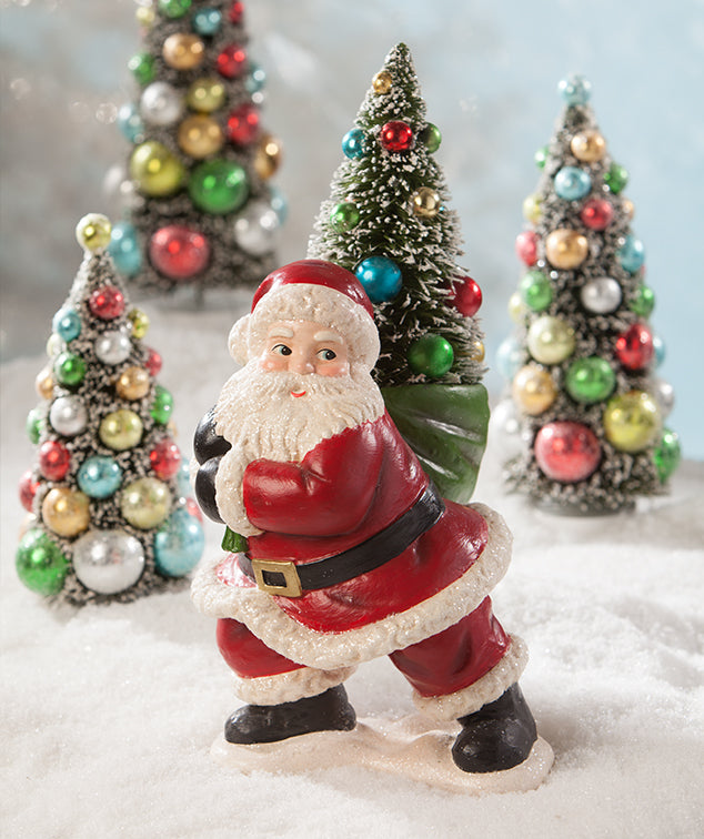 Merry & Bright Santa with Christmas Tree by Bethany Lowe