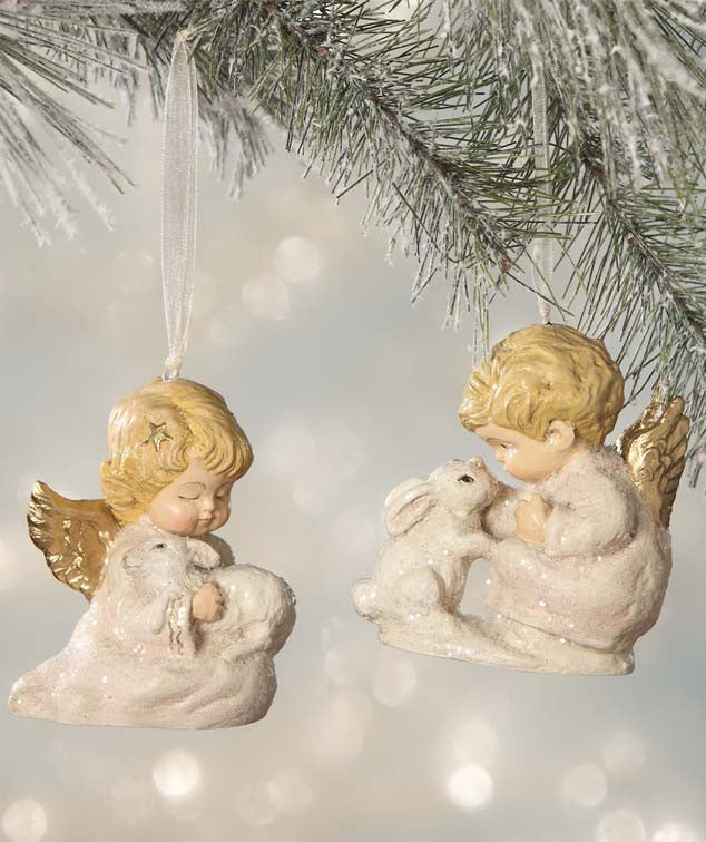 Bethany Lowe Nature's Angel Ornaments - Children with Animals