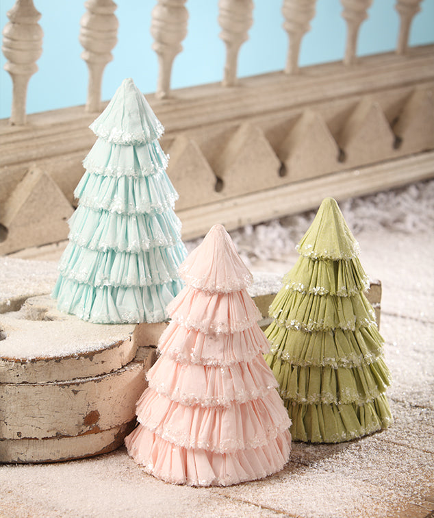 Pastel Crepe Paper Trees - Bethany Lowe Christmas 2018